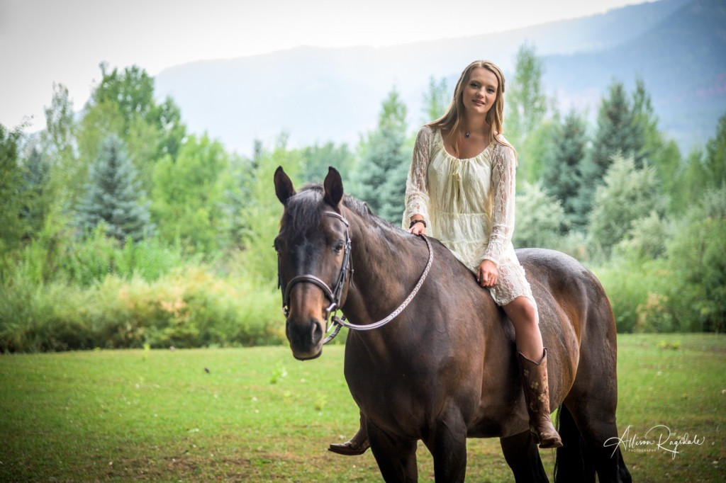 Outdoor senior portraits with horses