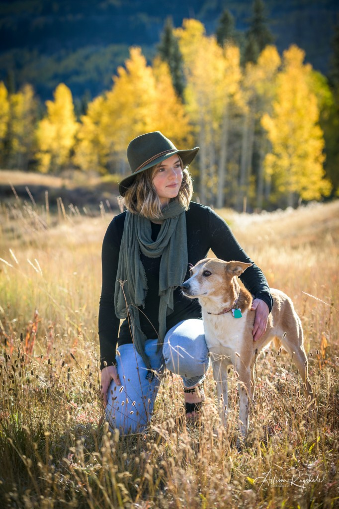 Fall senior pictures with dog