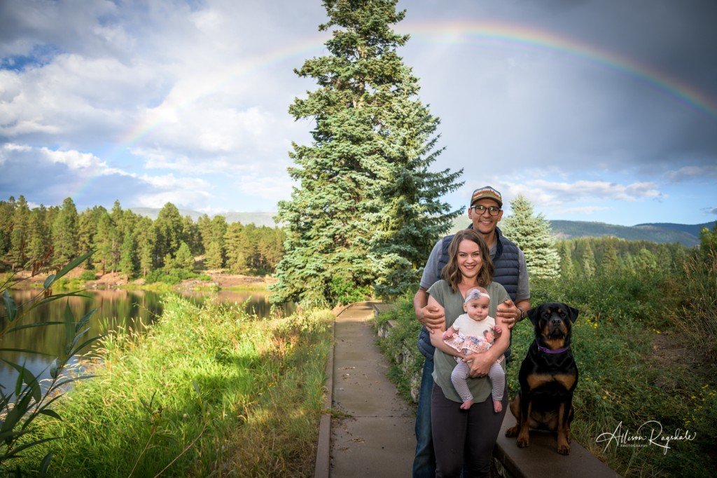 Family photos under rainbow