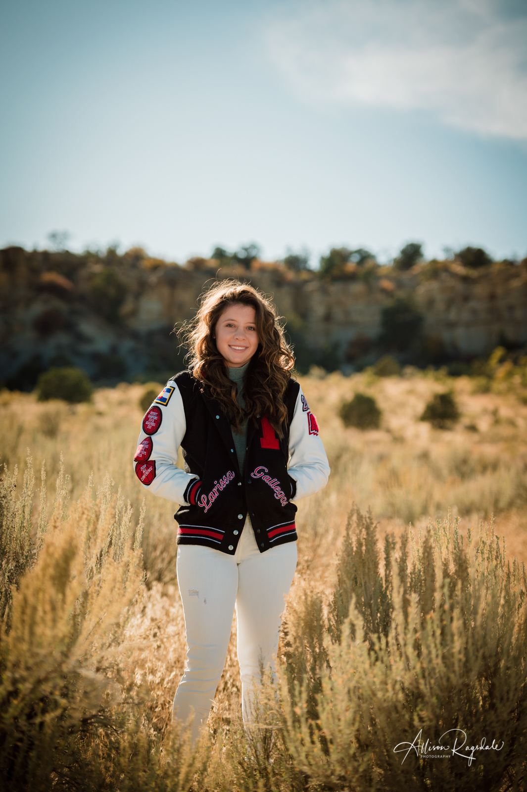 Pretty senior pictures with lettermans jacket