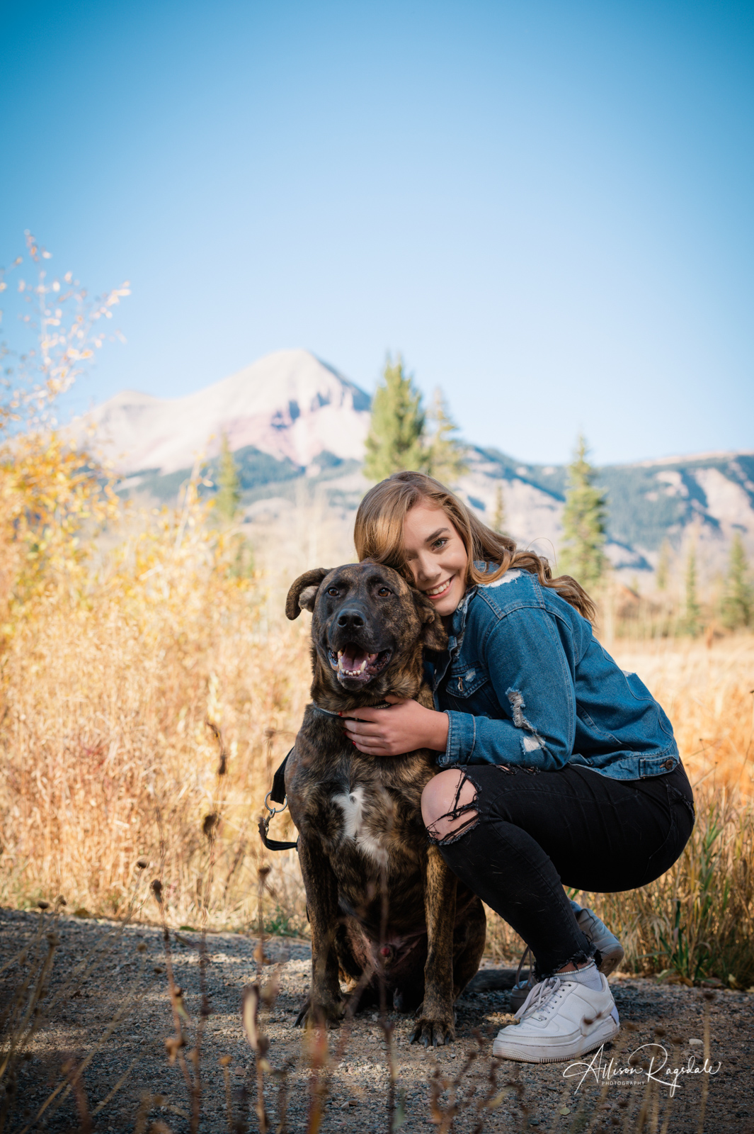 Mountains and dogs senior pictures