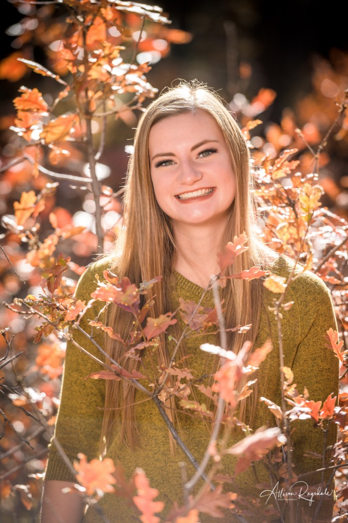 Fall senior pictures with red leaves
