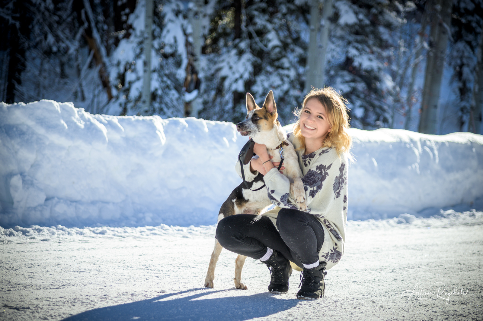 Winter senior pictures with dog