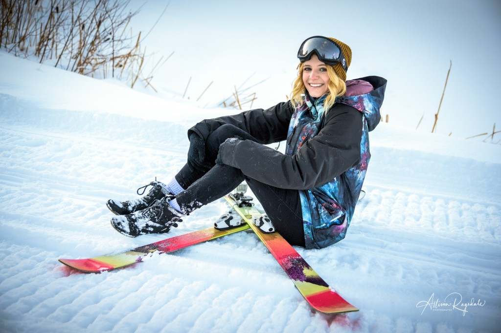 Skiing senior pics