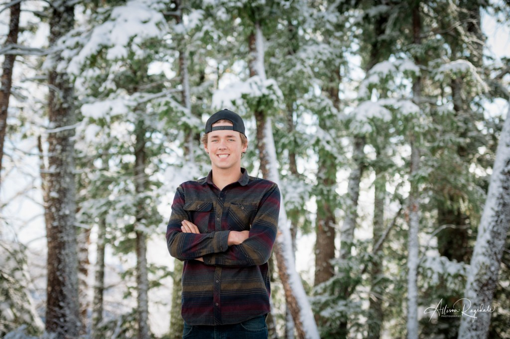 Winter forest senior pictures