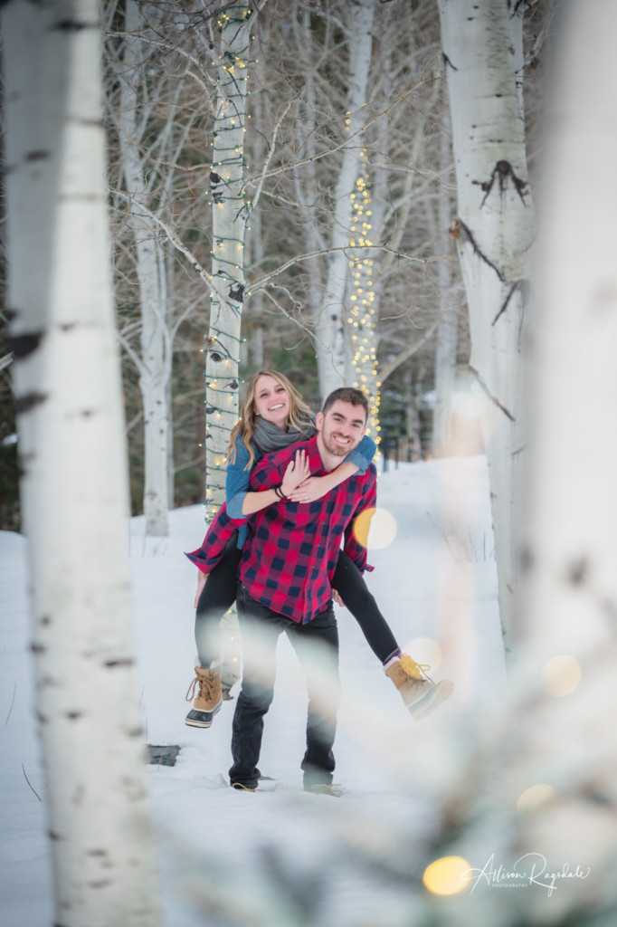 Aspen tree engagement photos