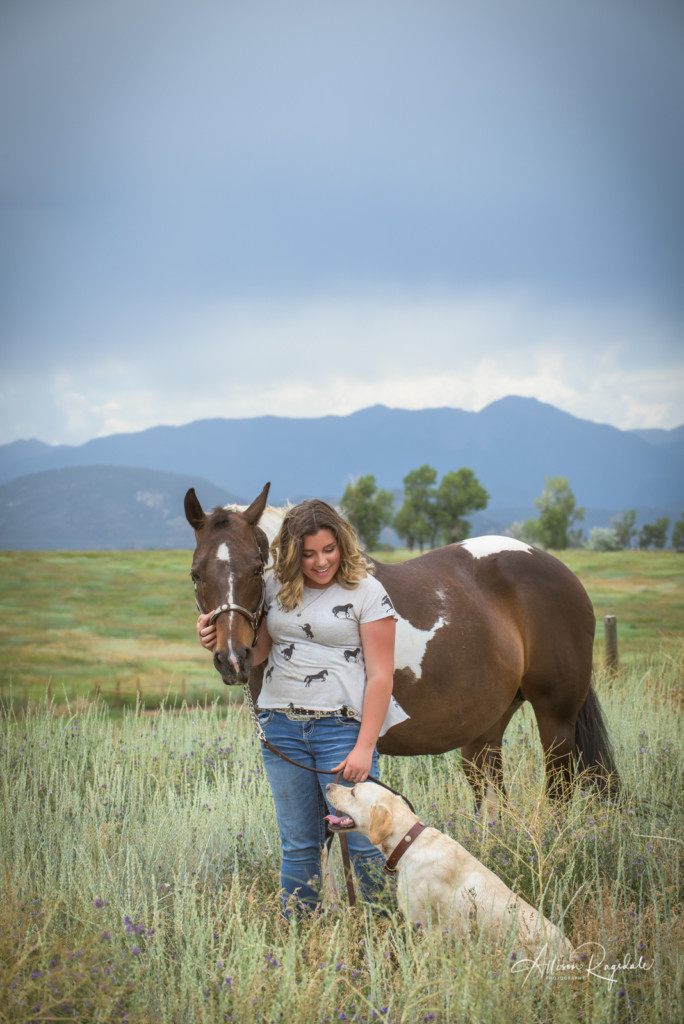 Senior photo with horse and dog