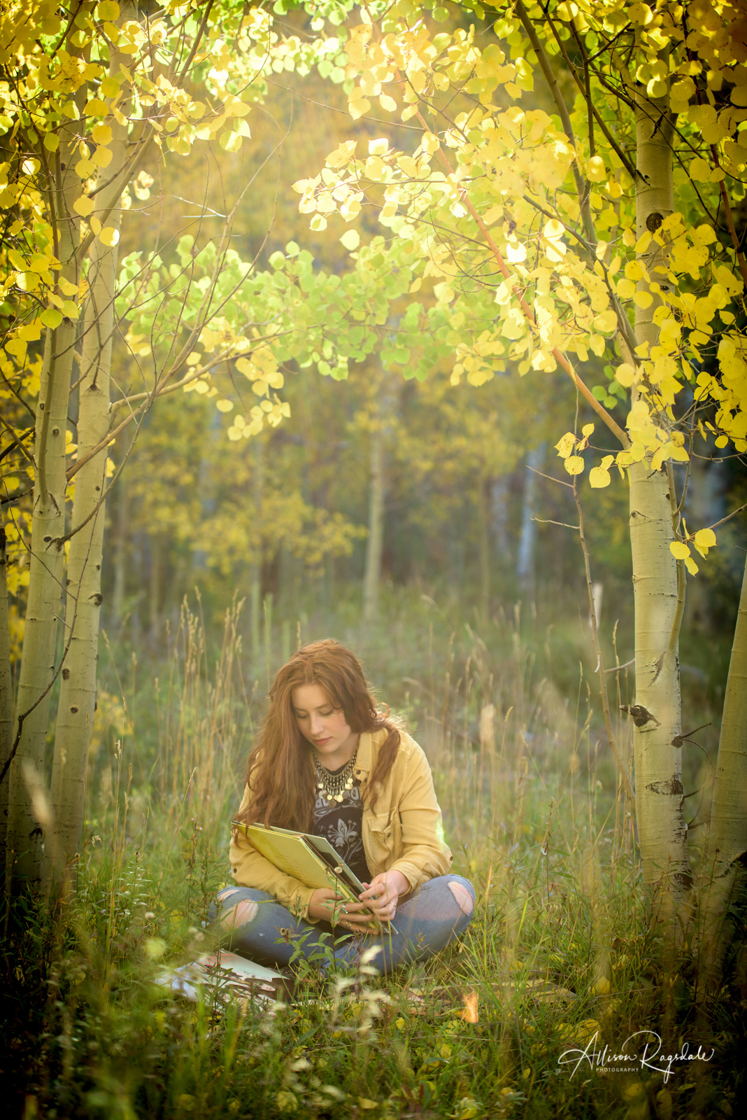 Artistic Senior Pictures with Records in studio, record shop, and outdoors