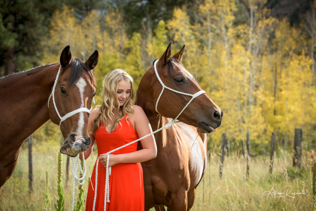 Pretty senior photos with horses