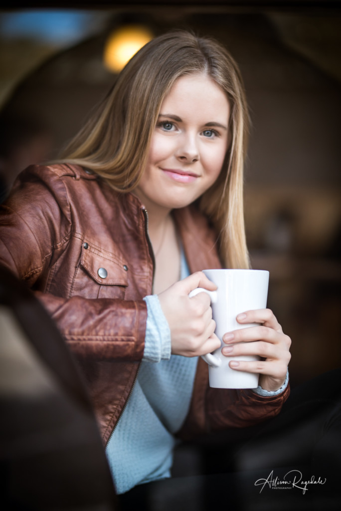 Senior pictures with coffee cup