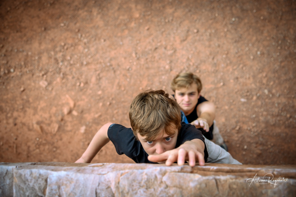 Sibling climbing photos