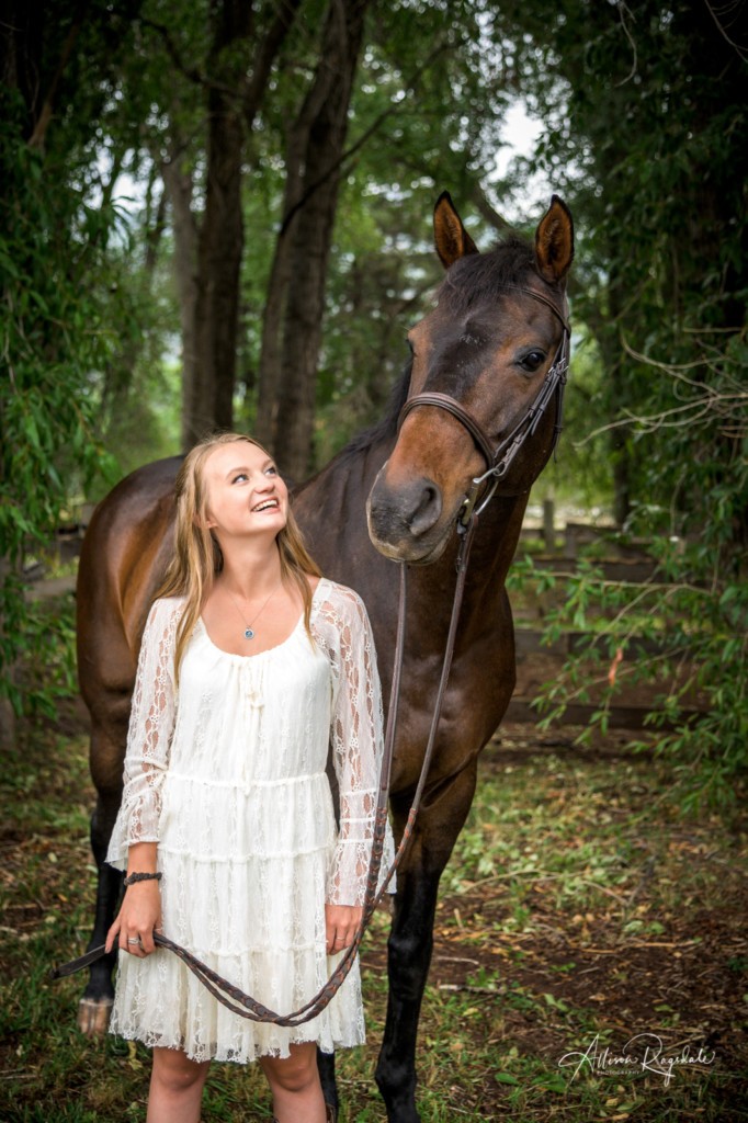Senior photos in forest with horse