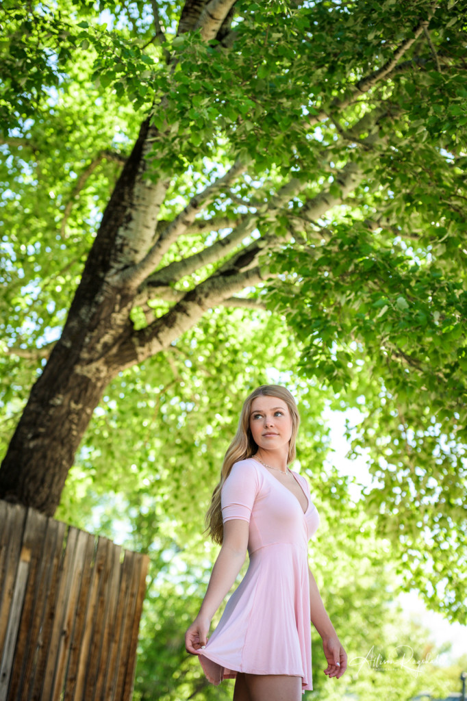 Senior photos with pink dress