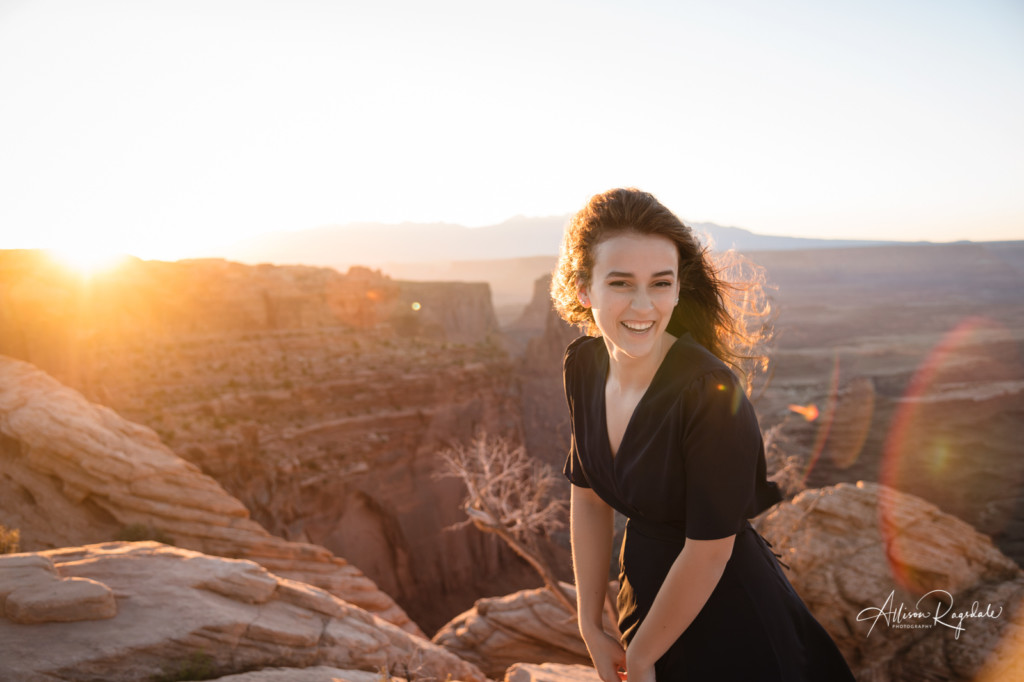 sunrise senior session girl moab