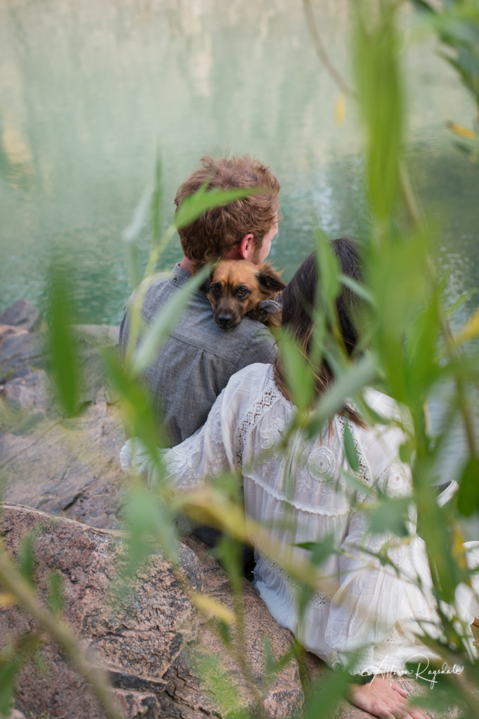 engagement pic with dog at river