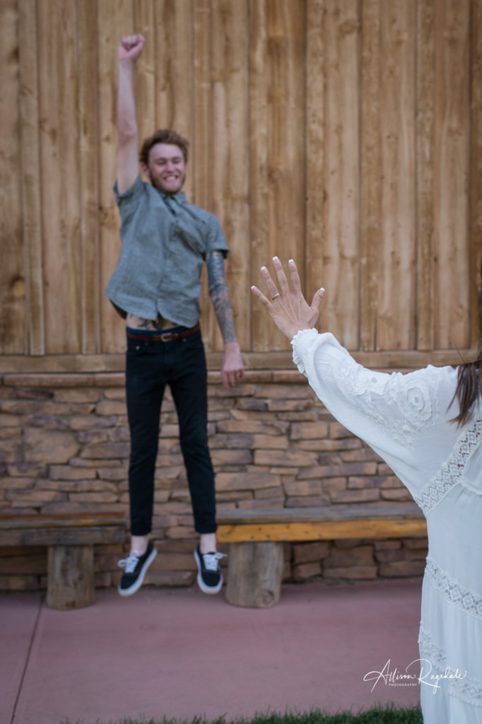 fiance jumping engagement ring photo