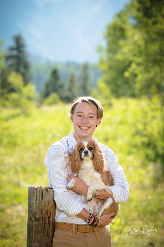 Senior photoshoot with his dog taken by Allison Ragsdale Photography in Durango Colorado