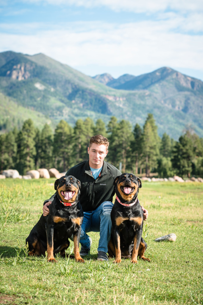 dogs with mountains senior guy portrait
