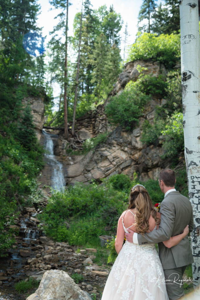bride & groom waterfall portrait purgatory colorado