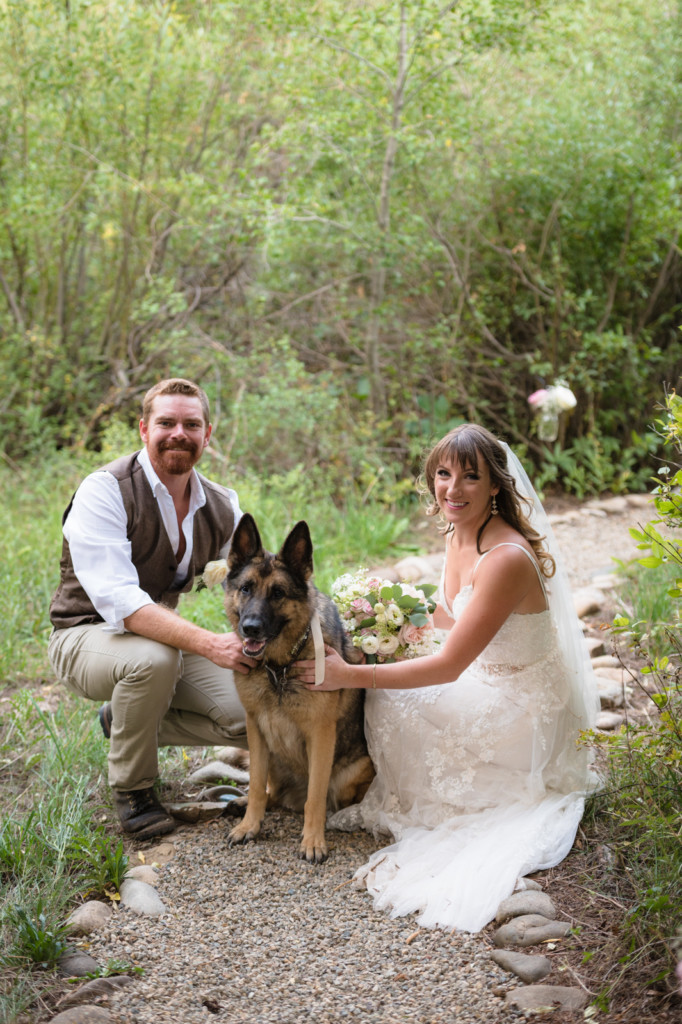 bride and groom portrait with german shepard colorado