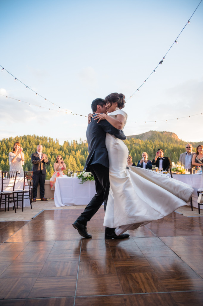 couples first dance spin at keyah grande wedding picture