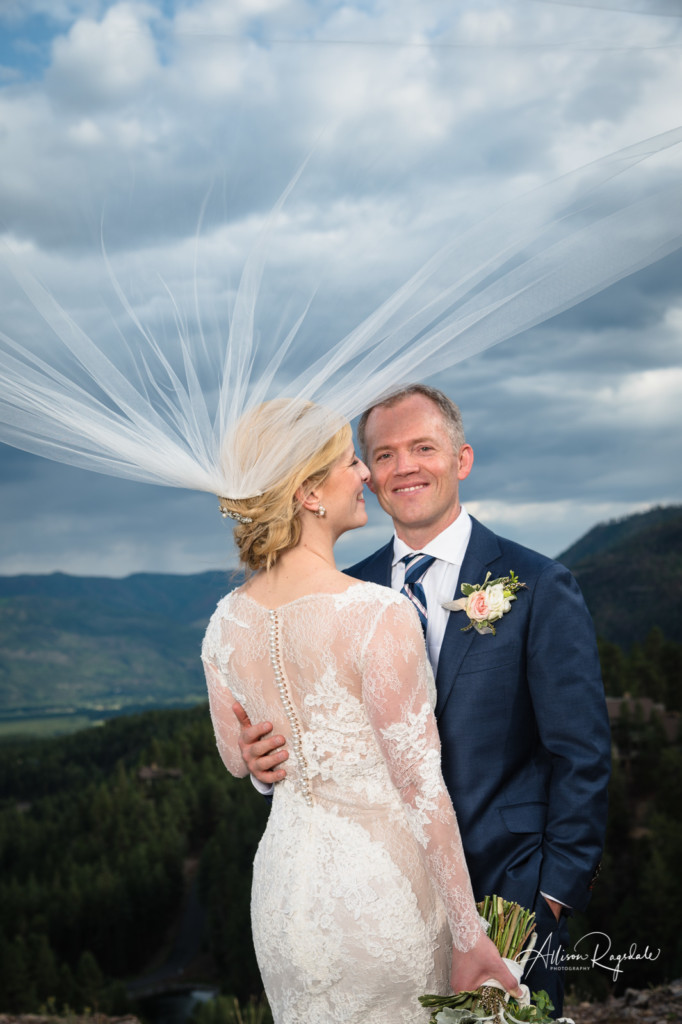 bride and groom wedding portrait colorado glacier club