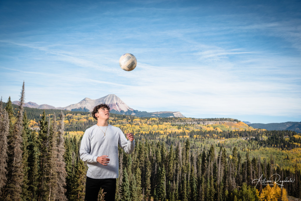 senior picture engineer mountain durango co soccer player