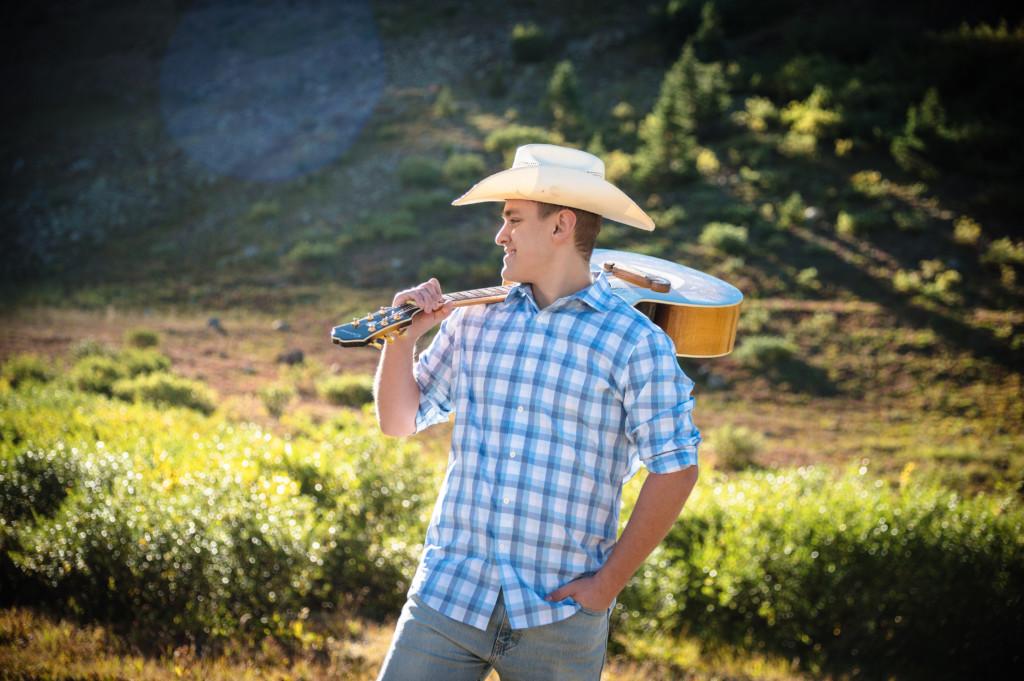 silverton durango colorado senior guy photo in cowboy hat with guitar