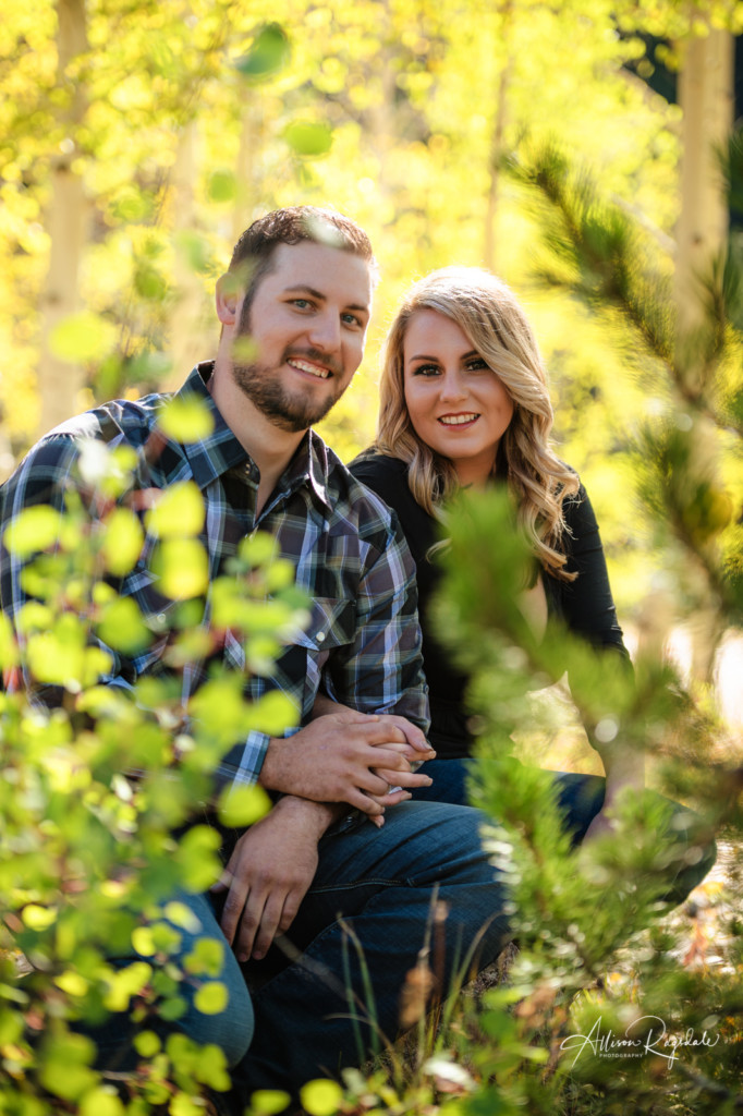 fall leaves durango engagement picture