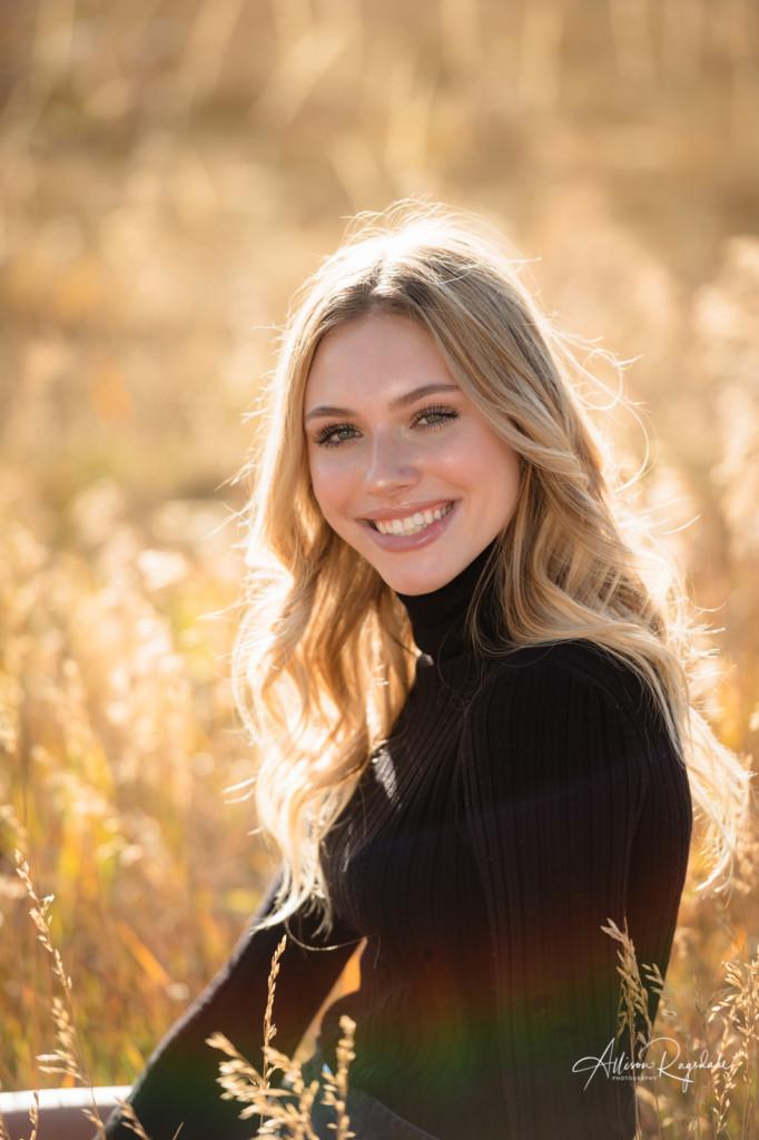 senior portrait long grass blond gorgeous girl