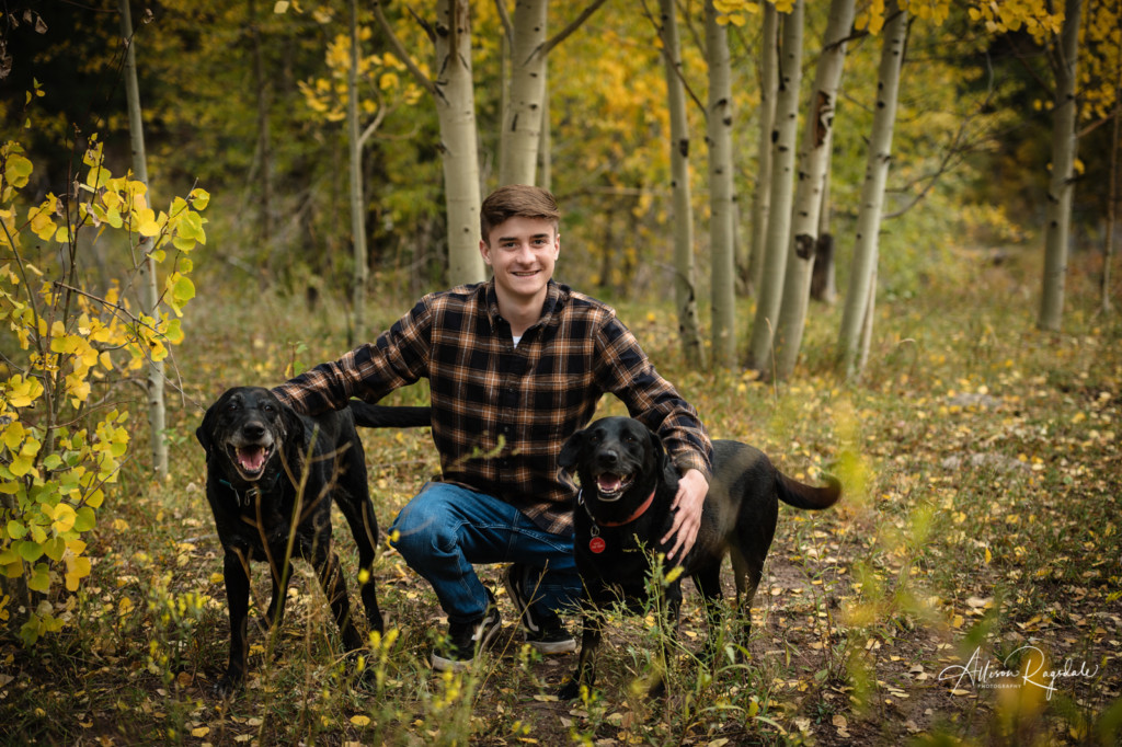 senior guy portrait with his dogs