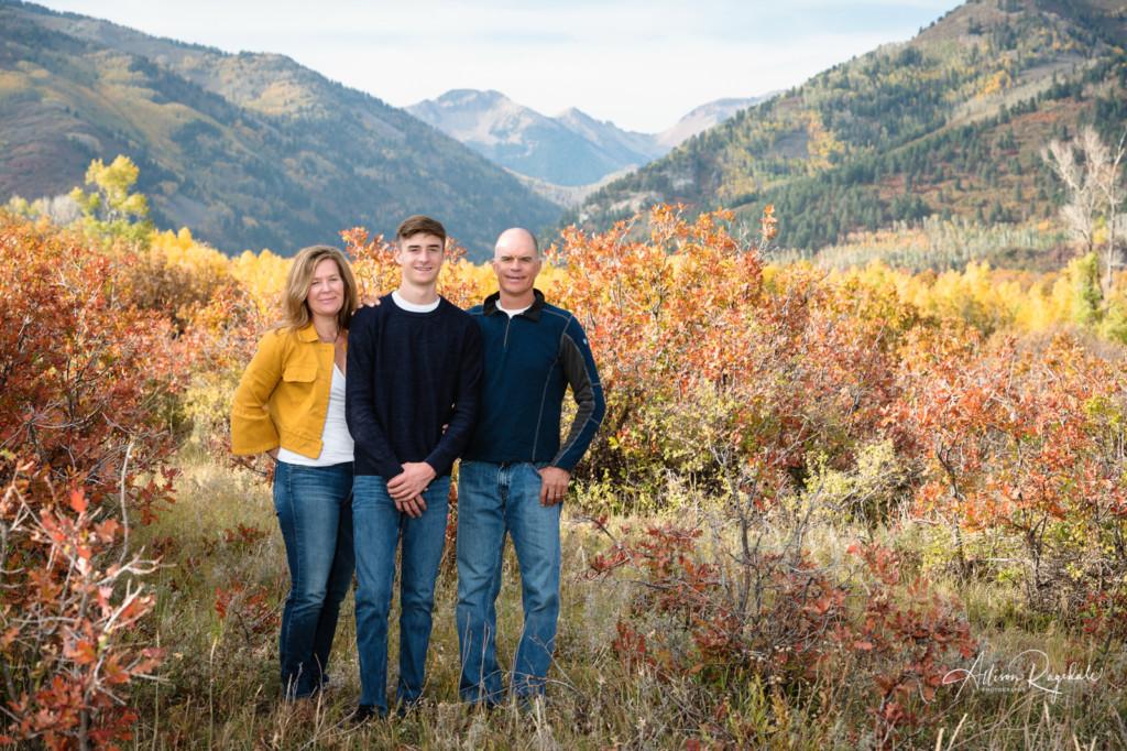 senior guy family portrait mountain background