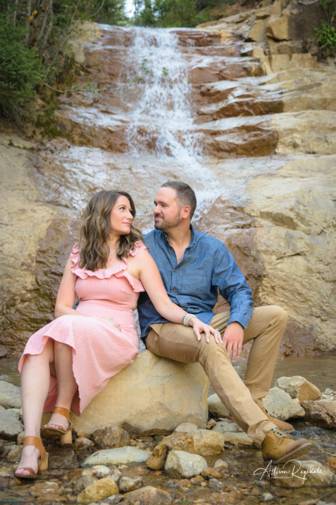 la plata canyon waterfall engagement session colorado