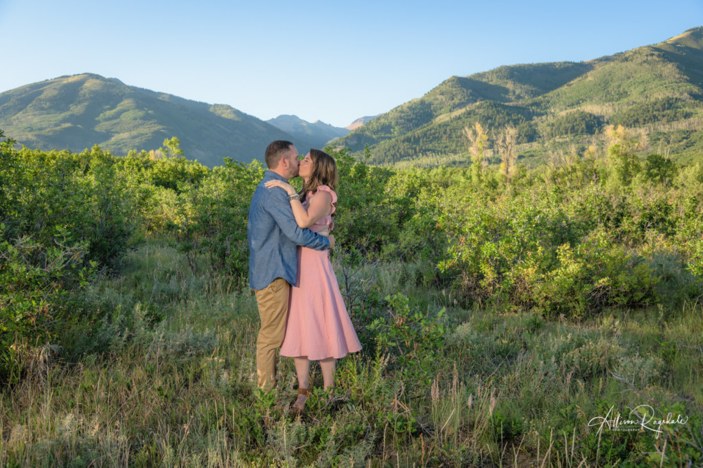 engagement portrait pink dress summer in la plata canyon colorado