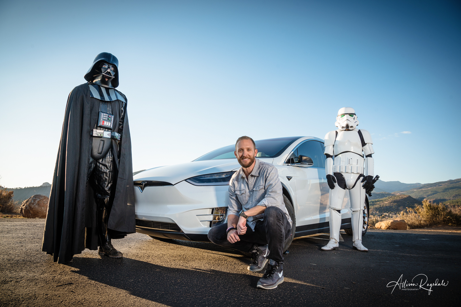 Hank Blum's Headshots with a Tesla, a Stormtrooper and Darth Vader
