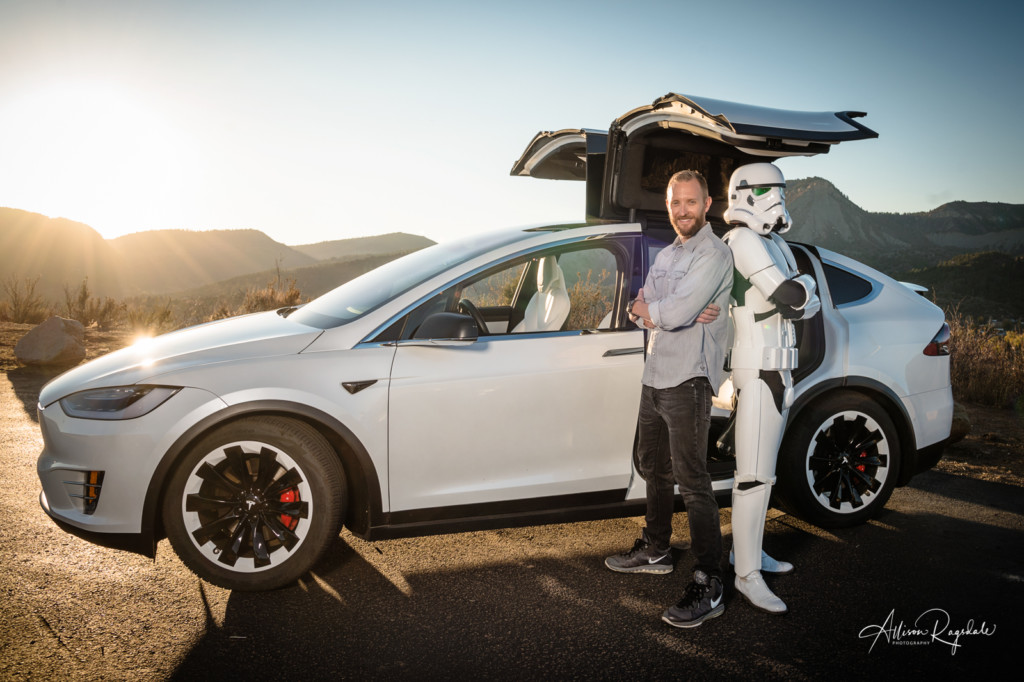 hank blum's alter ego stormtrooper with tesla portrait