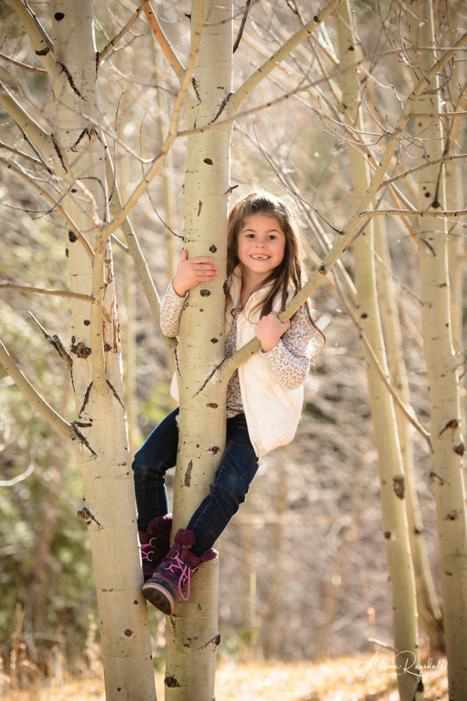 little girl climbing aspen trees colorado picture