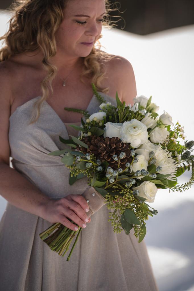 bride with bouquet from aprils garden durango co picture