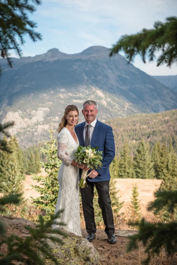 bride and groom portrait elopment mountain pine trees