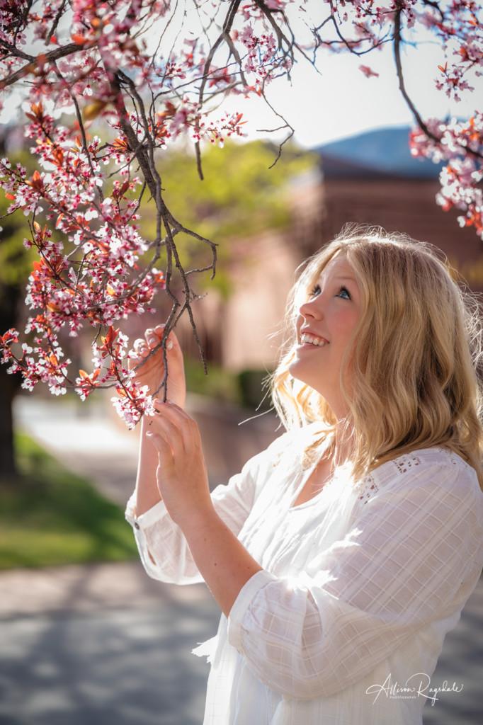 senior girl pic spring blossoms downtown durango co