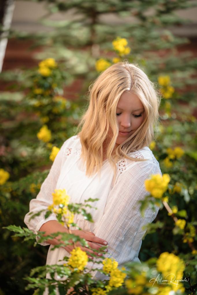 yellow blossoms girl senior portrait