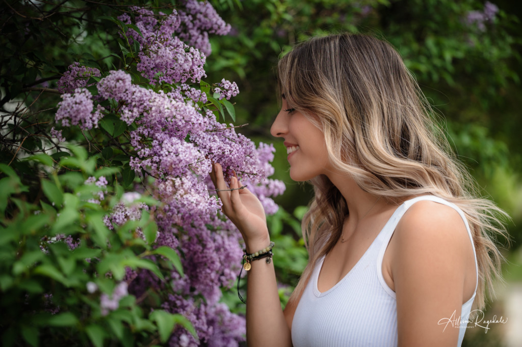 smelling the lilacs senior girl picture