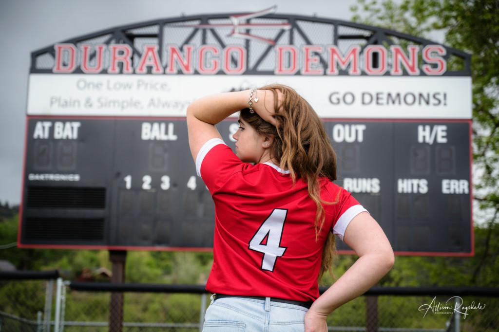 scoreboard softball field back of jersey senior girl pic