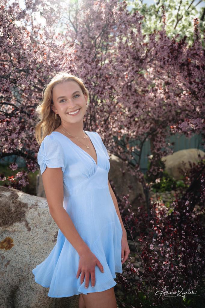 senior girl light blue dress spring flowers picture