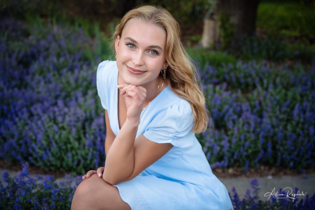 blue dress blue eyes blue flowers senior girl picture