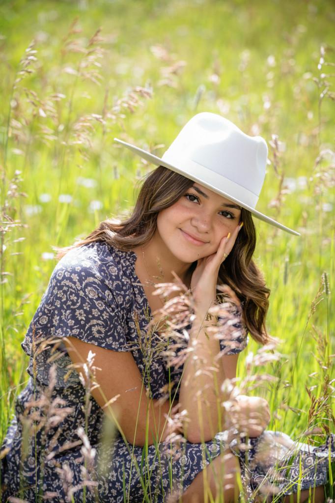 long grass field girl senior portraits